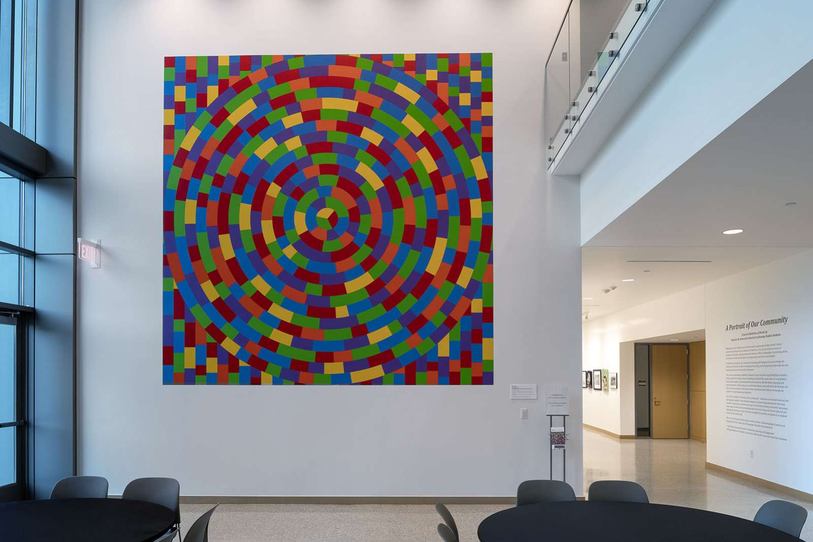Sol LeWitt, Wall Drawing #1115: Circle within a square, each with broken bands of color, 2014, Acrylic paint, dimensions variable. Gift of Russell H. Pitman. © Estate of Sol LeWitt / Artists Rights Society (ARS), New York. Photo by Nash Baker.
