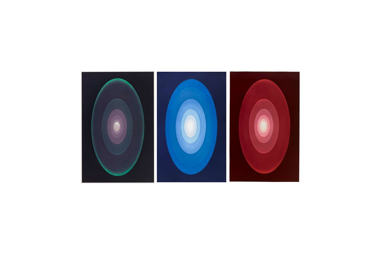 James Turrell, Suite from Aten Reign, 2014. Suite of three aquatints. 34 3/4 x 22 inches each. Edition of 30.