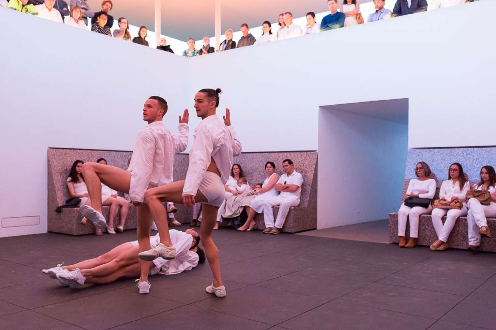 Dancers of Dušan Týnek Dance Theatre perform Vespertine Awakenings at the James Turrell Twilight Epiphany Skyspace
