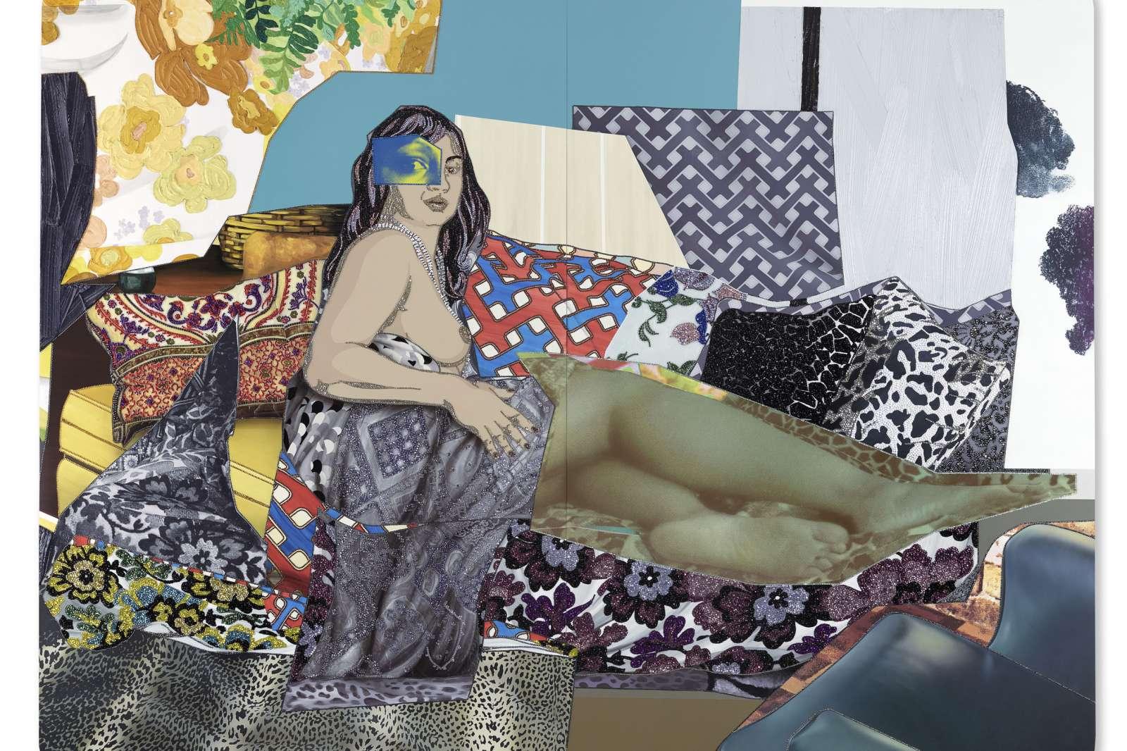 Mickalene Thomas, Shinique: Now I Know, 2015. Rhinestones, acrylic and oil on wood panel.  96 x 120 inches. © Mickalene Thomas