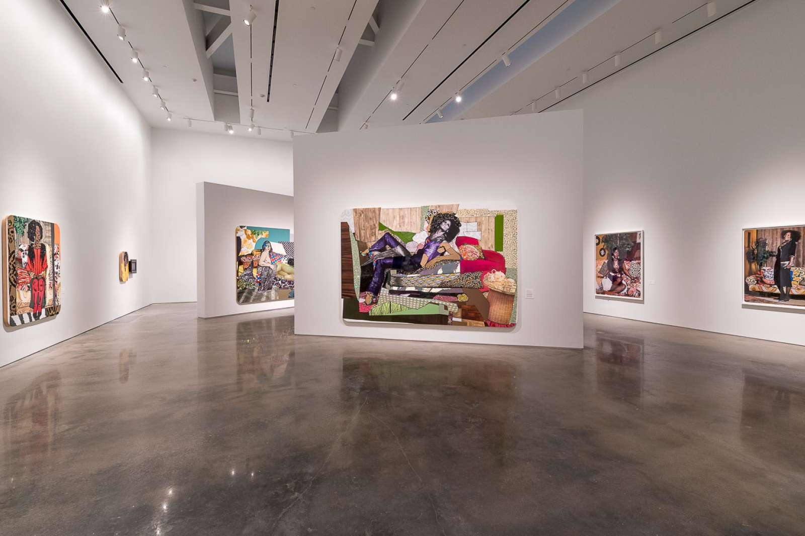 Installation view of Mickalene Thomas: Waiting on a Prime-Time Star. Courtesy the artist. Photo: Nash Baker