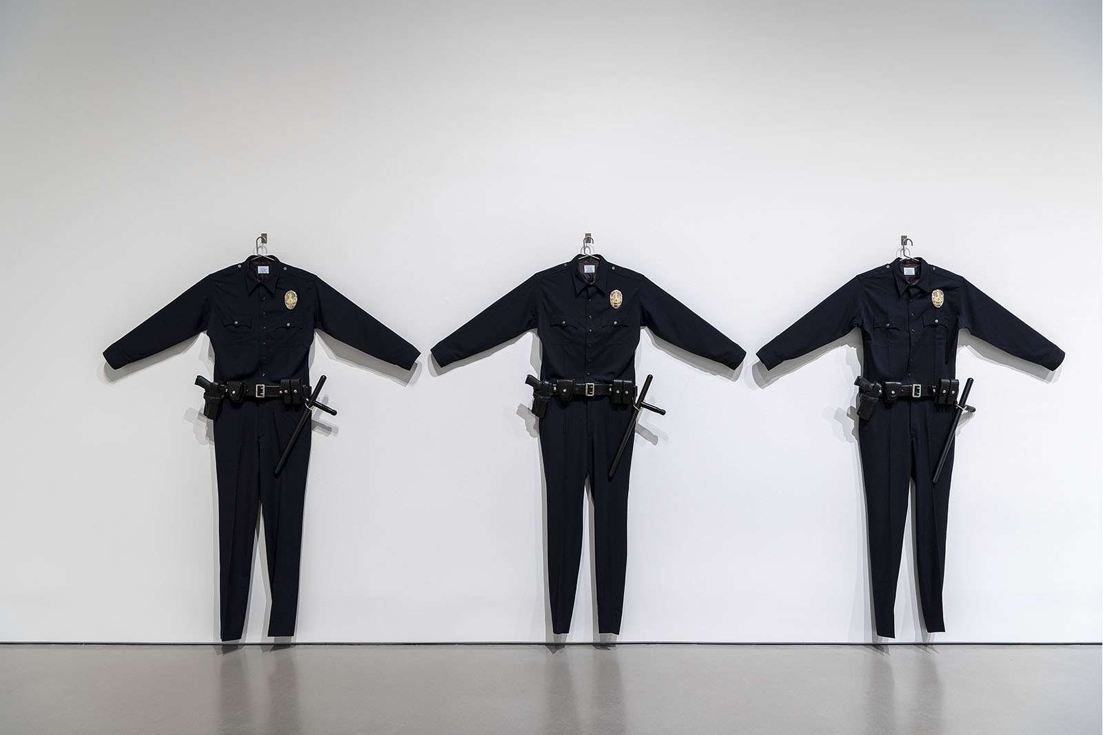 Chris Burden, L.A.P.D. Uniforms, 1993. Courtesy the Chris Burden Estate. © Chris Burden/Licensed by the Chris Burden Estate and Artists Rights Society (ARS), New York. Photo by Nash Baker