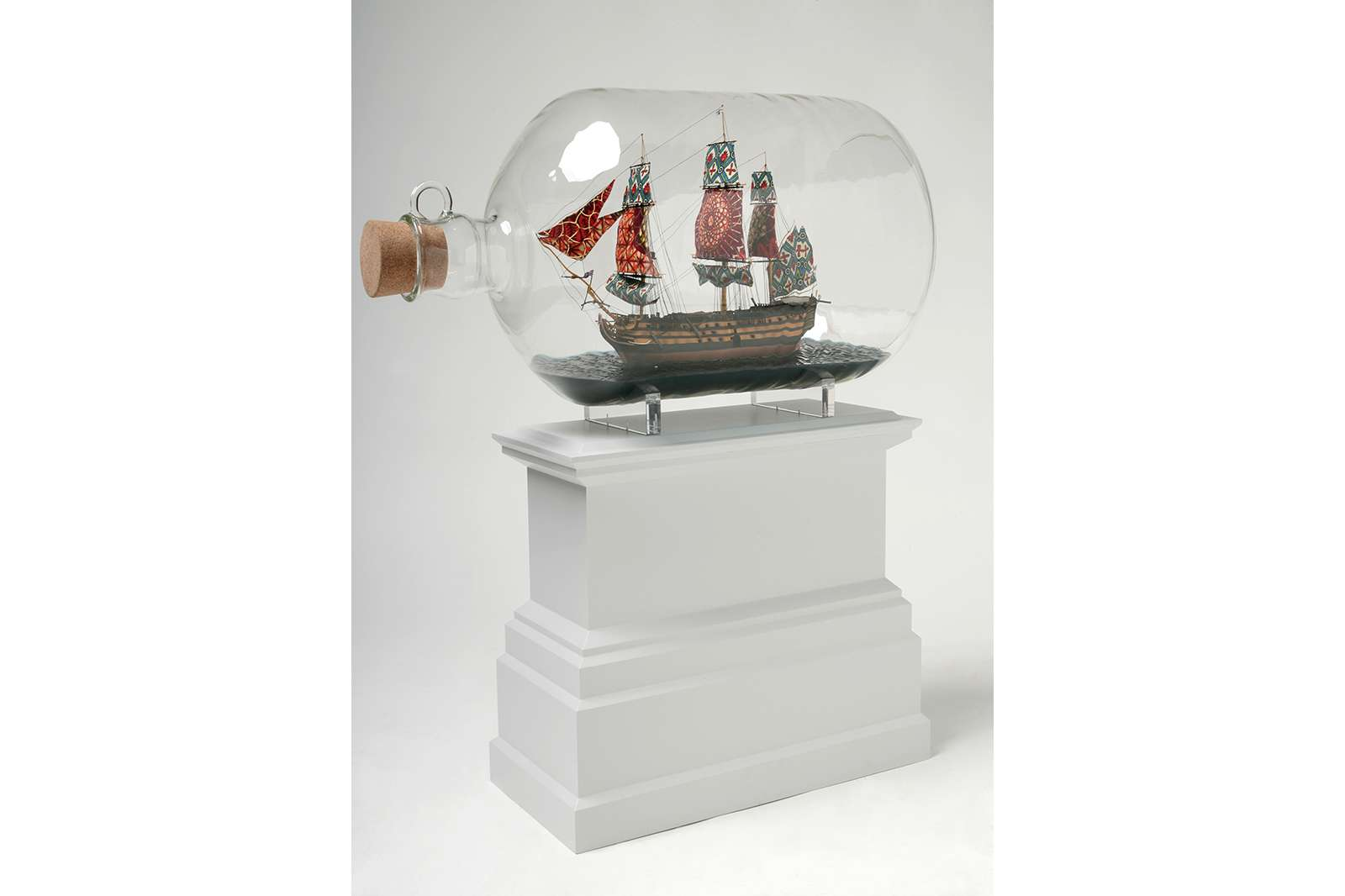 Nelson's Ship in a Bottle (maquette), 2007. Plastic, Dutch wax printed cotton textile, cork, acrylic and glass bottle. © Yinka Shonibare CBE. Courtesy James Cohan, New York.