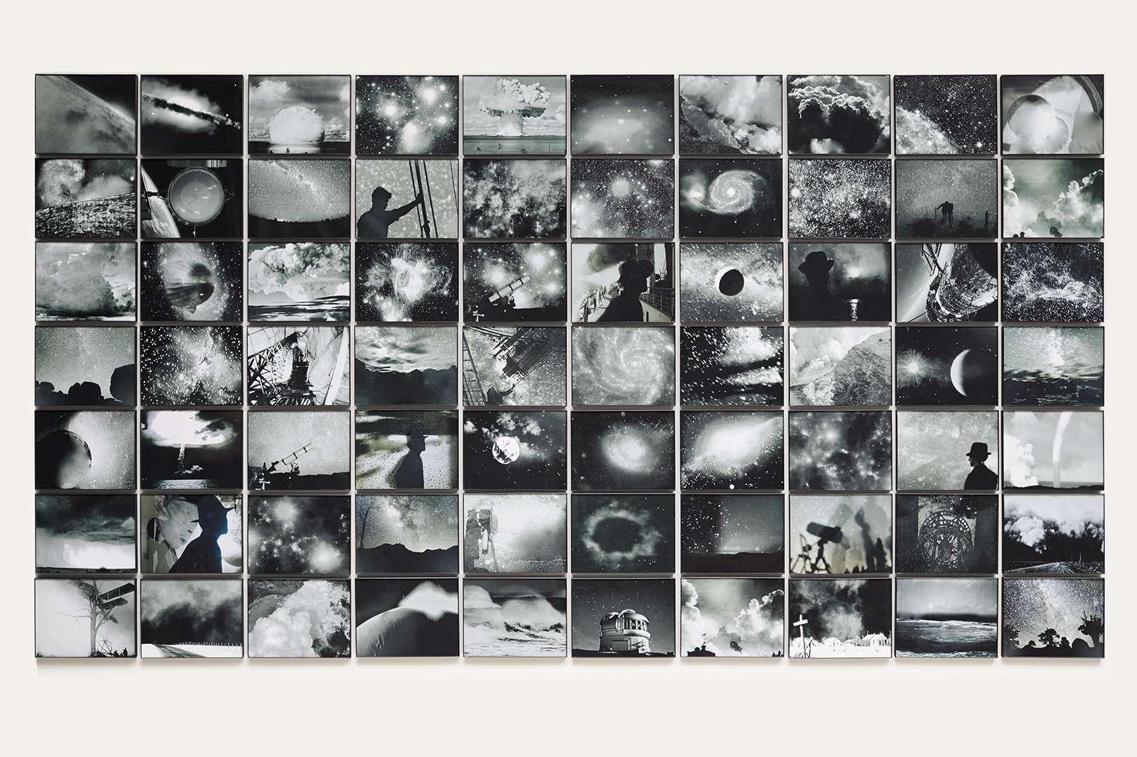 Michelle Stuart, Hear the Mermaids Sing, 2013. 70 framed archival inkjet photographs. 65 × 114 in. Courtesy of the artist and Galerie Lelong & Co.