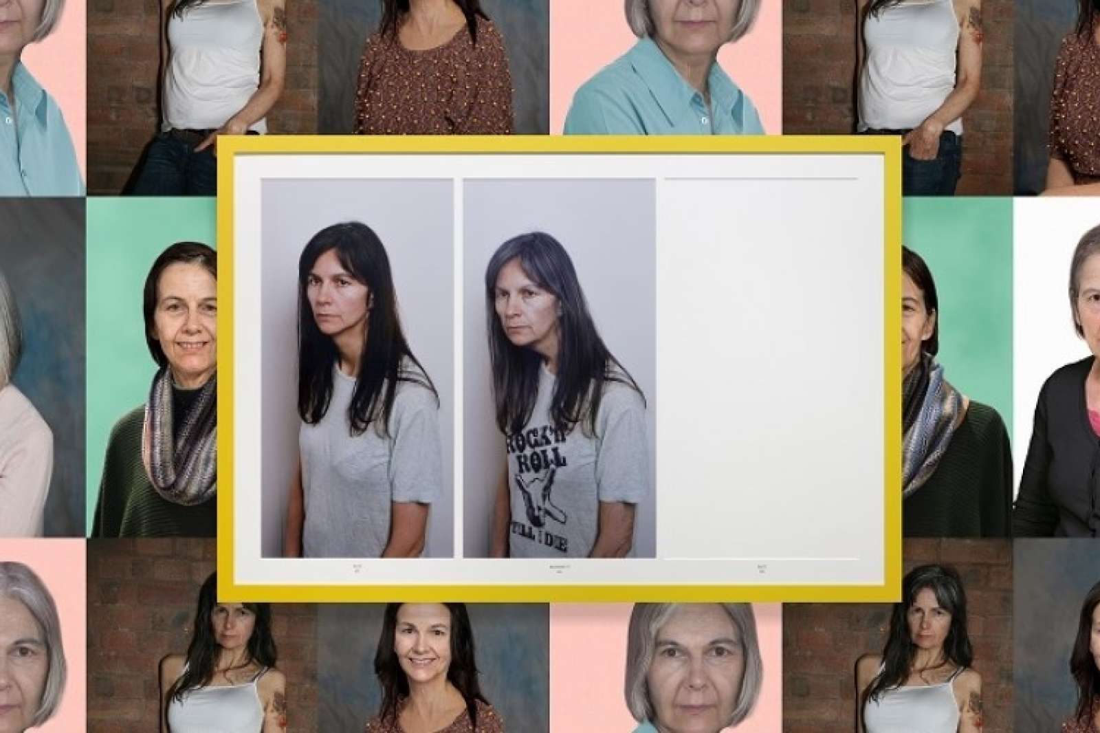 "Gillian Wearing, Rock 'n' Roll 70, 2015. Framed c-prints, 48 x 72"", Courtesy of the artist and Tanya Bonakdar Gallery. Background image: Gillian Wearing, Wallpaper, 2015, dimensions variable, courtesy of the artist and Tanya Bonakdar Gallery."
