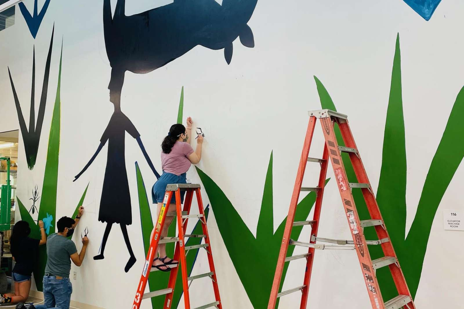 Gerardo Rosales, ¡Displaced Mundo! in progress. Photo Moody Center for the Arts