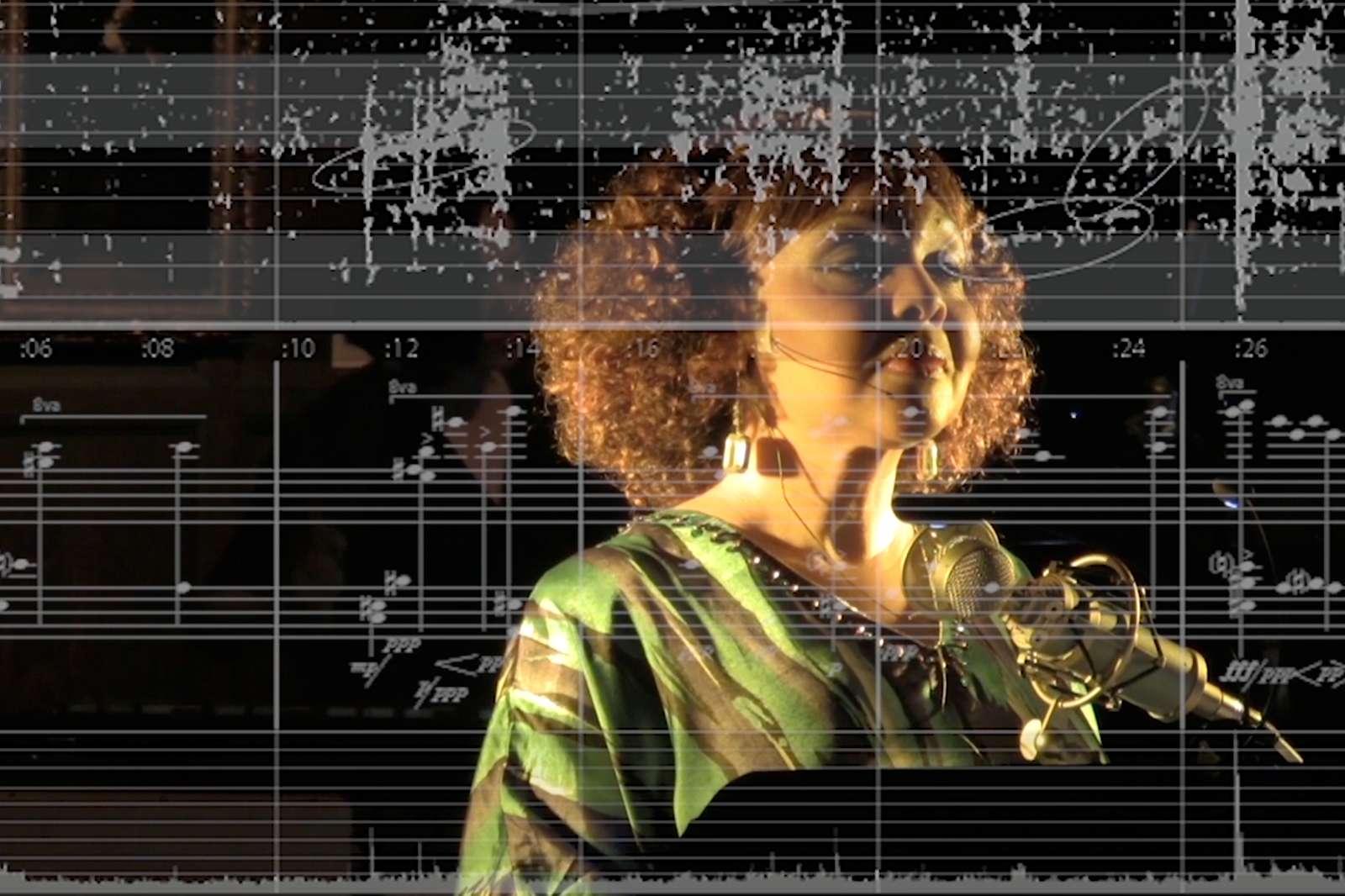 Lisa Edwards-Burrs performsAuksalaq, score excerpt by Matthew Burtner. Photo by Joe Adkins