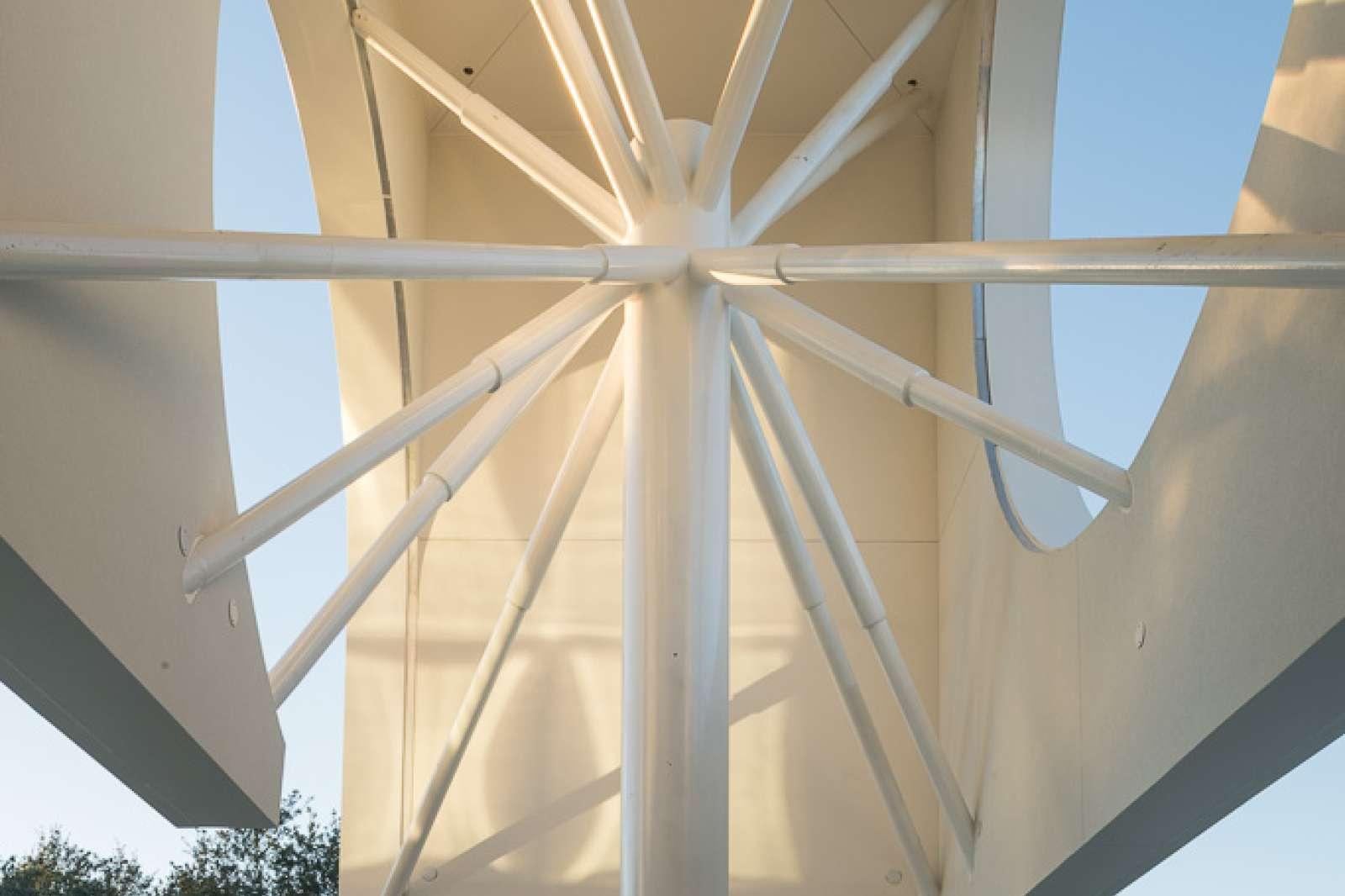 """Starburst column"" detail, Moody Center for the Arts at Rice University, January 2017. (Northwest corner) Photo: Nash Baker"