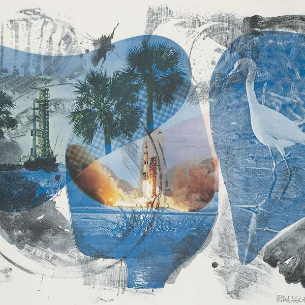 Robert Rauschenberg  Local Means (Stoned Moon), 1970  Lithograph  32 3/8 x 43 1/4 inches (82.2 x 110 cm)  From an edition of 11, published by Gemini G.E.L., Los Angeles ©Robert Rauschenberg Foundation and Gemini G.E.L.