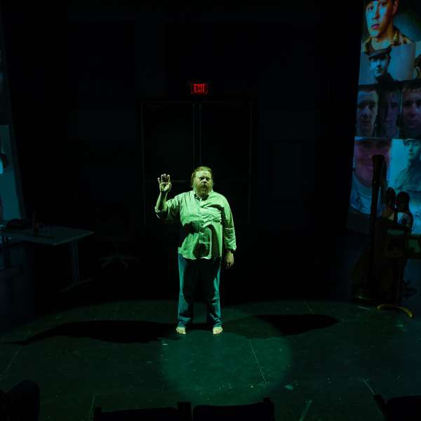 An Iiad, by Lisa Peterson and Denis O'Hare. Directed by Rob Kimbro. Starring Leon Ingulsrud as The Poet. Original music by Ben Morris. Photo: Jeff Fitlow