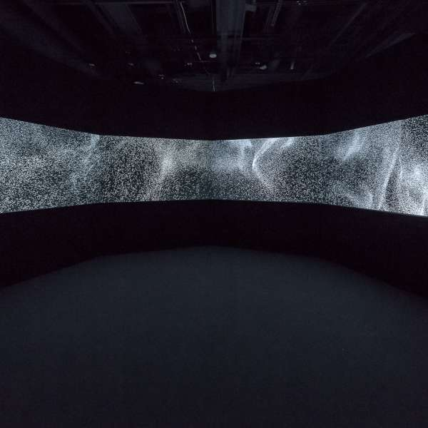 Installation view of Particle Chamber by Leo Villareal, 2017. Six channel digital projection, electrical hardware, and custom  software. 13ft x 17ft 1/2in x 15ft. © Leo Villareal. Courtesy Pace Gallery. Photo: Nash Baker