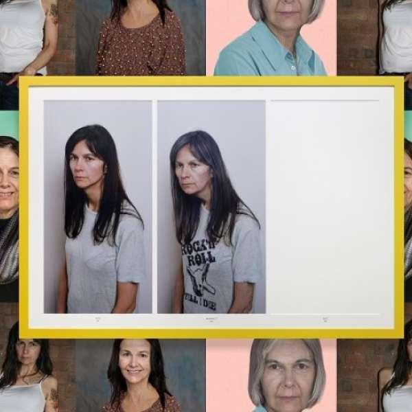 "Gillian Wearing, Rock 'n' Roll 70, 2015. Framed c-prints, 48 x 72"", Courtesy of the artist and Tanya Bonakdar Gallery. Background image: Gillian Wearing, Wallpaper, 2015, dimensions variable, courtesy of the artist and Tanya Bonakdar Gallery."
