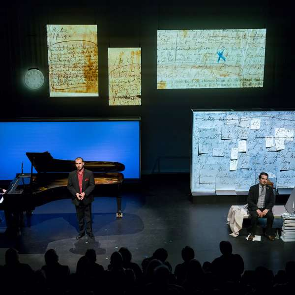 Sarah Rothenberg with Dylan Morrongiello, tenor, Shepherd School of Music, and Carlos Dengler as The Narrator/Marcel in A Proust Sonata. Performance at the Moody Center for the Arts' Lois Chiles Studio Theater at Rice University, 2017. Photo: Ben Doyle