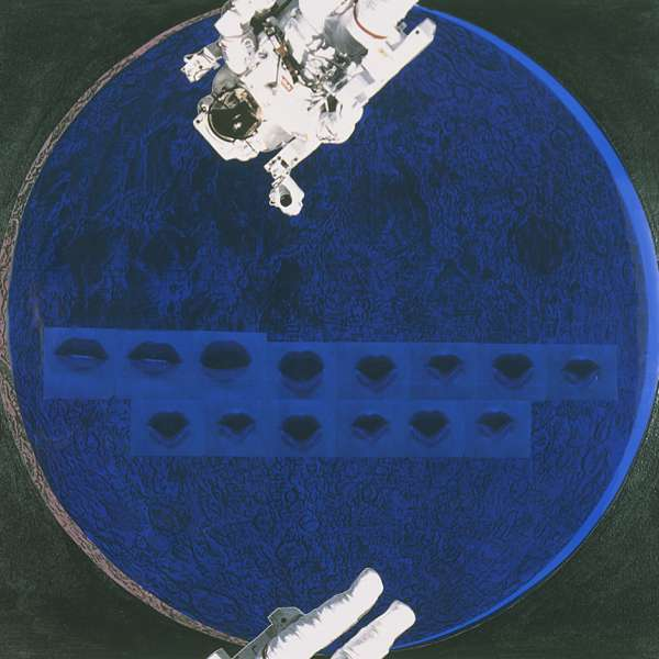 Katy Schimert, The Moon Speaks (Future Perfect, Moon Landing Collage), 1993. 29 x 21 inches. Xerox Images, transparent paper, oil paint on paper Courtesy of the artist.