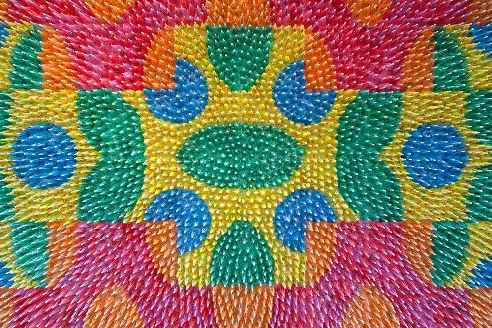 We Make Carpets, Umbrella Carpet 2, 6000 paper cocktail umbrellas. Photo: Ewout Huibers